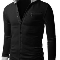 Doublju Mens Jersey Cardigan with Contrast Detail BLACK, Tag XX-Large, US X-Large