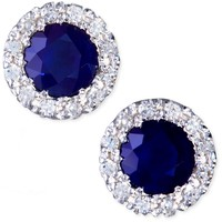 Gemma by Effy Collection 14k White Gold Earrings, Sapphire (7/8 ct. t.w.) and Diamond (1/8 ct. t.w.) Round Button Earrings - Earrings - Jewelry & Watches - Macy's