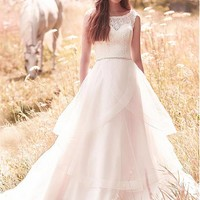 [188.99] Gorgeous Tulle & Lace Scoop Neckline A-Line Wedding Dresses With Beadings & Rhinestones - dressilyme.com