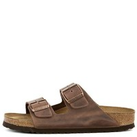 PEAP Birkenstock for Women: Narrow Arizona Waxy Leather Soft Footbed Habana Sandals