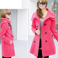 Womens Double Breasted Winter Wool Coat