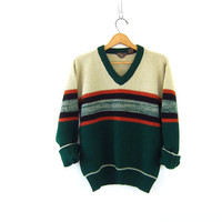 retro 60s green Striped sweater Grunge preppy Nerd vneck pullover mens knit Hipster Top. size Small Medium
