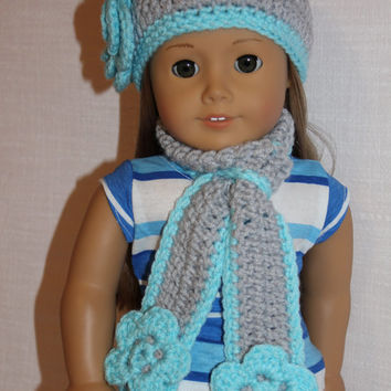 crochet beanie hat with flower, long scarf with flowers, light grey and blue, 18 inch doll clothes