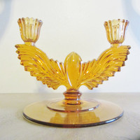 New Martinsville  Queen Ann Amber Double Candle Holder