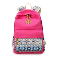 Sweet Ethnic Pattern Canvas Rucksack College Backpack