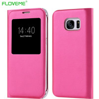 For Samsung Galaxy S7 Edge G9350 Transparent View Window Litchi Leather Case Flip Full Coverage Phone Cover For Samsung S7 Edge