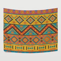 Orange Tribal Aztec Pattern Tapestry Wall Hanging Mandala Traditional Abstract Geometry Ethnic Wall Decor Art for Living Room Bedroom Dorm
