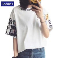 TOONIES Letter Printing White T Shirt Women Short Sleeve Leisure Korean Harajaku Tops T shirts Female Summer All-match S-2XL