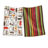 Set of 2 TAG Farm to Table Kitchen Towels. Large Cotton Towels