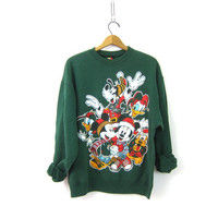 MIckey Mouse Christmas sweatshirt 90s tacky vintage Xmas sweater Green Ugly Party sweater Goofy Donald Duck Disney Novely Sweater size XL