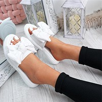 Summer new ladies sandals with big bows, non-slip thick-soled solid color slippers