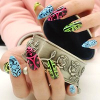 TKGOES 24pcs Stiletto False Nails Art Tips New Design ABS UV Salon Fake Nail Full Cover Cowboy Style Fashion Nail Whit Glue