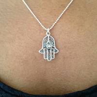 Silver Hamsa Hand of Fatima Necklace