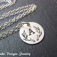 Tiny Initial antler necklace sterling silver personalized bridesmaids gifts deer antler wedding woodland necklace