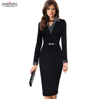 SEBOWEL Casual Women's Tunic Pencil Office Dress With Belted Elegant Vintage Patchwork Contrast Polka Dot Lapel Wear to Work