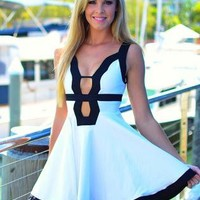 White Dress with Black Trim and Cutout Front & Back Detail