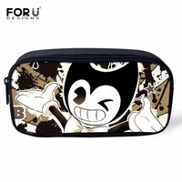 FORUDESIGNS New 2018 Women Makeup Bag Bendy and The Ink Machine Cartoon Cosmetic Cases Children Pencil Bags Kids Pen Bags Cases