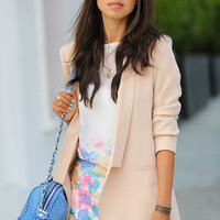 Solid Color Long Sleeve Blazer