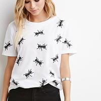 Sequined Ant Applique Tee