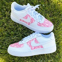 Onewel Nike Air Force 1 x Dior Print Contrast Shoes Trending Shoes White+Pink