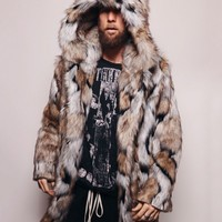 Hooded Wolverine Faux Fur Coat