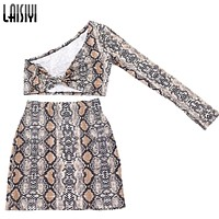 LAISIYI Fashion Snake 2 Two Piece Set Women Autumn One Shoulder Crop Top High Waist Skirt Set Sexy Club Party Print Clothing Hot