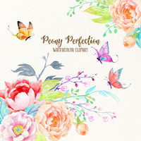Wedding clipart  Peony Perfection - Hand painted watercolor Peonies, Butterflies and flower arrangements printable instant download