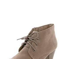 Breckelle's Tova12 Taupe Low Heel Laced Booties shop Boots at MakeMeChic.com