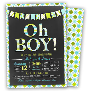Oh Boy Baby Shower Invitation - Modern Chevron Chalk Baby Shower Invite - Lime Green Argyle Banner Teal Blue Trendy Baby Shower Invitations