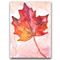 Autumn Leaf Watercolor Painting ACEO - Miniature - Giclee Print - 2.5 x 3.5