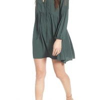 Lush Lace-Up Babydoll Dress   Nordstrom