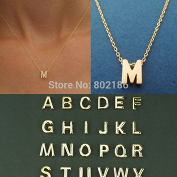 Gold Letter Personalized Charm Pendant Necklace, Tiny Initial Delicate Minimalist Necklace , Bridesmaid Everyday  Gift