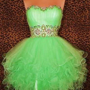 MINT GREEN SHORT PROM PARTY PAGEANT WEDDING COCKTAIL BALL GOWN DRESS XS 2/4