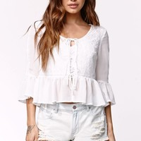 Kendall & Kylie Tie Front Woven Cardigan - Womens Shirts - White