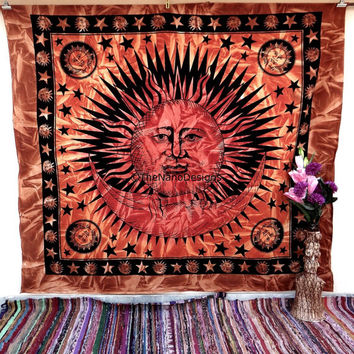 Sun Moon Wall Hanging , Indian Mandala Tapestry Throw Bedspread , Dorm Tapestry , Decorative Wall Hanging , Picnic Beach Sheet Coverlet
