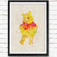 Winnie the Pooh Watercolor Art Print, Disney Watercolor Poster, Pooh Wall Art, Home Decor, Not Framed, Buy 2 Get 1 Free