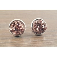 Small Druzy earrings- Rose gold drusy silver tone stud druzy earrings