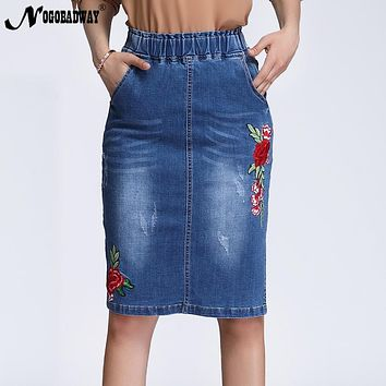 Plus Size Stretchable High Waist Floral Embroidered Denim Skirts Women 2018 Spring Split Short Jeans Skirt Saias Casual Fashion