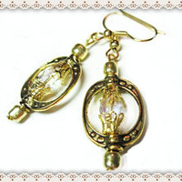 Gold Frame Earrings~Women's Beaded Earrings~Gorgeous Sparkly Facet Bead Earrings~Gold End Caps