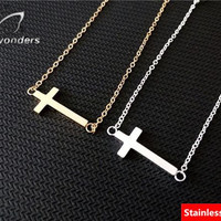 Vacuum Plating Gold Silver Stainless Steel Sideways Cross Necklace