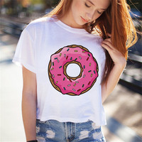 Women Summer Short T Shirt Fashion Donut Print White T shirts Harajuku O-Neck Short Sleeve Tops 71596 SM6