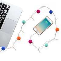 LED Charging Cable for iPhone 5,6,7,8: Pom Pom