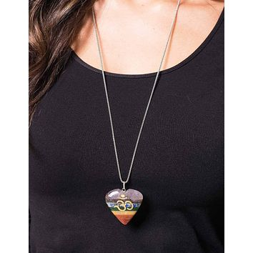 Chakra Om Heart Pendant - 30 inch Silver Chain - As-Is-Clearance