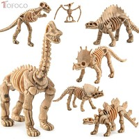 TOFOCO 12pcs/Set Novelty Assorted Dinosaur Fossil Skeleton Figures Model Building Kits Dollhouse Decor For Children Kid Adult