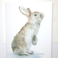 Watercolor Bunny Note Card Set of 6 - Woodland Animal
