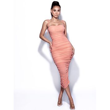 Belle Salmon Ruched Mesh Dress With Straps