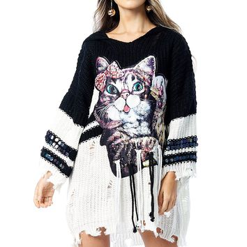 Swaggy Cat Safety Pin Sweater