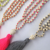 Neon Beaded Tassel Necklace - 5 Colors