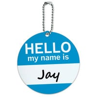Jay Hello My Name Is Round ID Card Luggage Tag