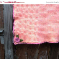 Large Crochet Baby Afghan in Peach Sorbet ready to by luvbuzz